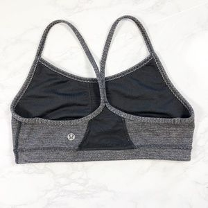 Lululemon Gray Black Flow Y Mesh Cut Out Bra 6